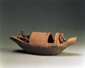 Boat and crew, tomb artefact, Eastern Han Dynasty, 25-220 AD (earthenware)