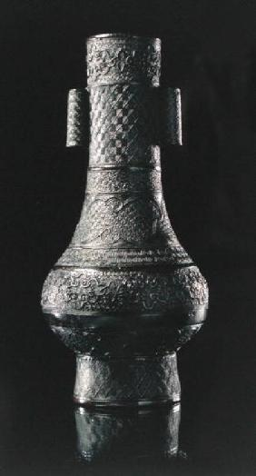 Chinese flower vase with tubular handles
