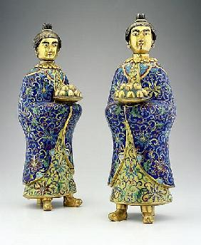 Pair of female attendants, Qianlong period, 1736-95 (cloisonne enamel)