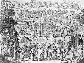 Procession of a bride going home to her husband; engraved by N. Parr (b/w photo);