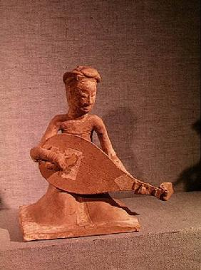 Seated musician playing a lute, from the Tomb of General Chang Sheng, Anyang, Honan, Sui Dynasty