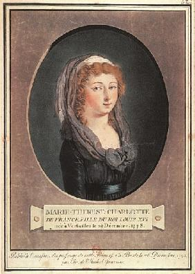 Marie-Therese-Charlotte de France (1778-1851) aged seventeen