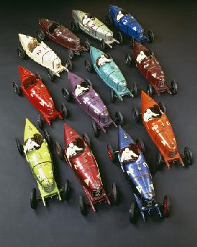 A Group Of CIJ Clockwork Painted Tinplate Alfa Romeo P2 Racing Cars, Late 1920s
