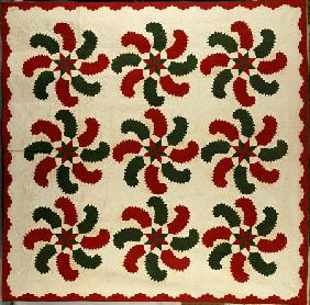 An Appliqued Cotton Quilted Coverlet