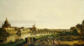 A View Of Dresden From The Right Bank Of The River Elbe Above The Augustusbrucke