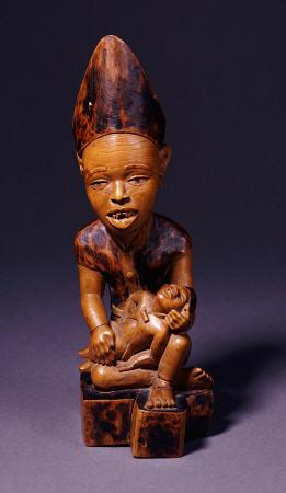 Exposés chez Christies Peintres - A Yombe Wood Carving Possibly Depicting A King Or Chief Presenting His Son