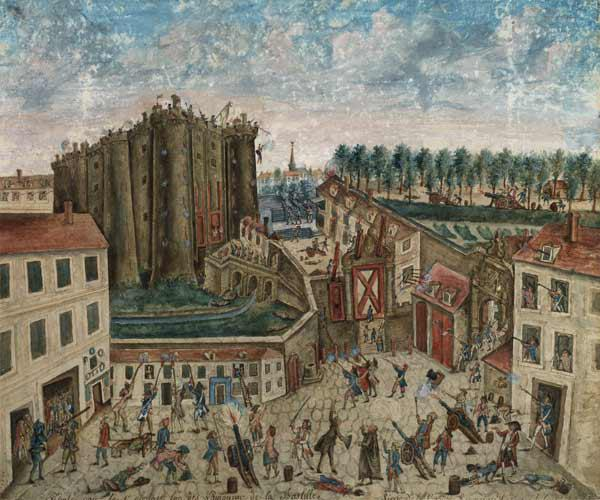 The Siege of the Bastille, 1789 (gouache on card)