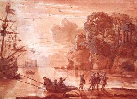 The Disembarkation of Warriors in a Port, possibly Aeneas in Latium