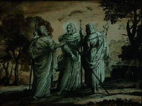 Journey to Emmaus (black chalk & gouache on paper)