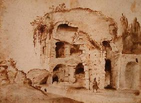 A Ruin on the Palatine (ink & wash on paper)