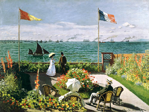 la terrasse sur le bord de mer sainte adresse huile sur toile de claude monet. Black Bedroom Furniture Sets. Home Design Ideas