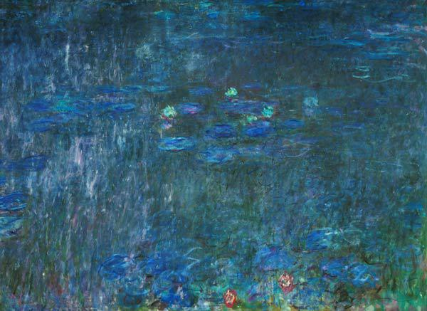 Waterlilies: Reflections of Trees, detail from the right hand side