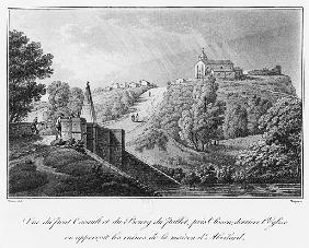 View of the Cacault bridge and the village of Pallet, near Clisson, ruins of the house of Abelard, i