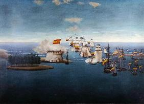 The Battle of Maracaibo on 24th July, 1823 (oil on canvas)