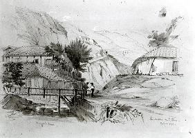 Berger''s House, Valparaiso, 1834 (pencil & w/c on paper)