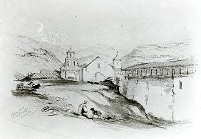 The Church of San Francisco, Valparaiso, 1834 (pencil & w/c on paper)