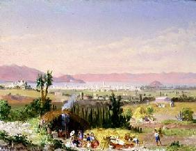 A View of Mexico City with an Encampment