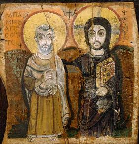 Icon depicting Abbott Mena with Christ, from Baouit