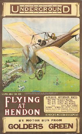 'Flying at Hendon', an advertising poster