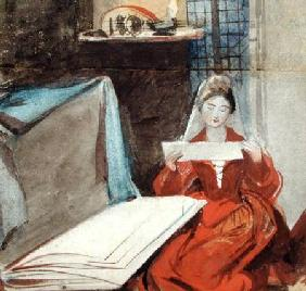 A Lady in a Medieval Costume studying the Contents of a Portfolio