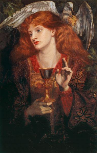 D.Rossetti, Damsel of Sanct Grail, 1874. - Dante Gabriel Rossetti en reproduction imprimée ou copie peinte à l'huile sur toile