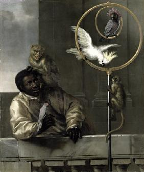 Negro with Parrots and Monkeys