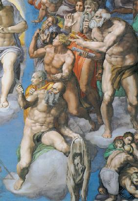 "Detail of the fresco ""The Last Judgement"" on the wall in Sistine chapel"