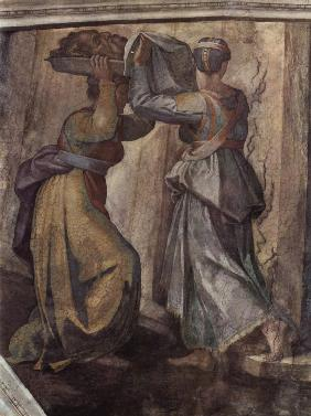 Detail of the fresco Judith and Holofernes on the wall in Sistine chapel