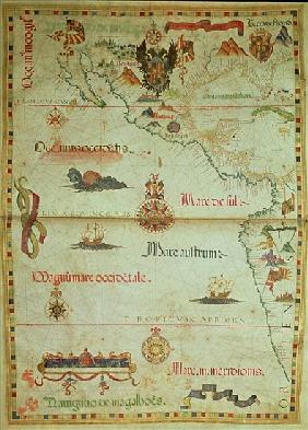 Add 5415A Conquest of Mexico and Peru, page from a portolan atlas, c.1588