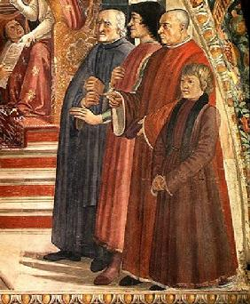 Detail of St. Francis receiving the Rule of the Order from Pope Honorius, scene from the cycle of th