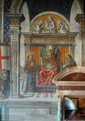 Saints Zenobius, Stephen and Lawrence, detail from the fresco in the Sala dei Gigli