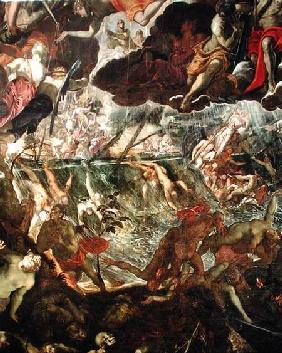 The Last Judgement, detail of the damned in the River Styx and Charon's boat full of passengers