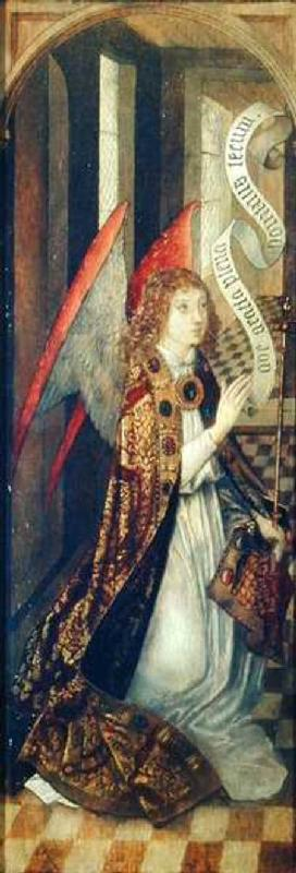 Angel holding a Banner, from an Annunciation Scene