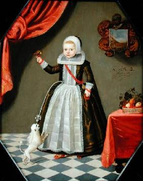 Portrait of a Young Girl with a Bird on her Finger and a Dog at her Feet