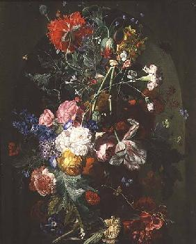 Still Life of Flowers in a Terracotta Vase set in a Niche
