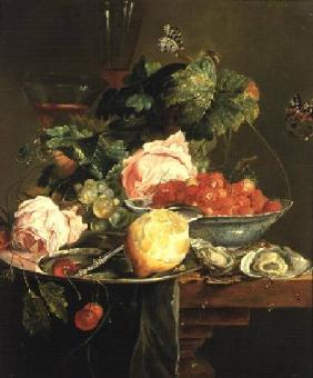 Still Life of Roses, Oysters, Strawberries in a Porcelain Bowl and Other Fruits on Pewter Ware