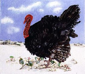 Black Turkey with Snow Berries, 1996 (acrylic on paper)