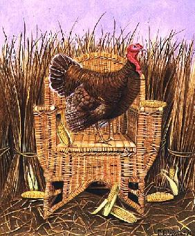 Brown Turkey on a Wicker Armchair, 1991 (acrylic)