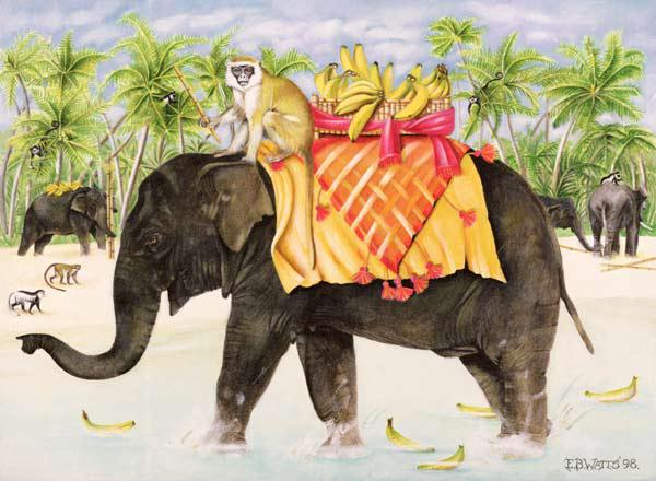 Elephants with Bananas, 1998 (acrylic on canvas)