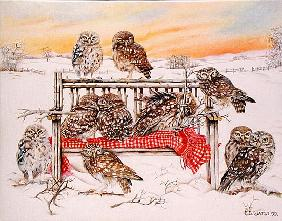 Little Owls on Twig Bench, 1999 (acrylic on canvas)
