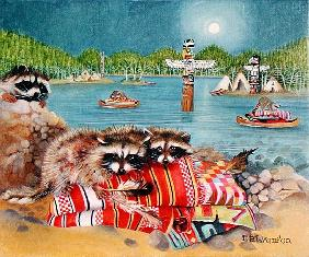 Racoons, 2000 (acrylic on canvas)