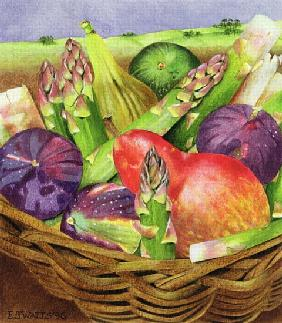 Red Pear with Figs and Asparagus, 1996 (acrylic on paper)