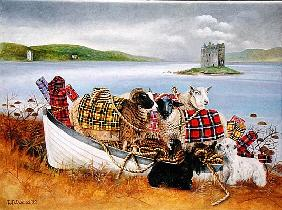 Sheep with Tartan, 1999 (acrylic on canvas)