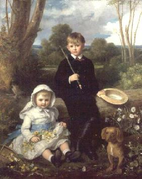 Portrait of a Brother and Sister with their Pet Dog in a Wooded Landscape