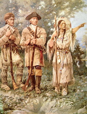 Edgar Samuel Paxson - Lewis and Clark with Sacagawea (colour litho) (detail)
