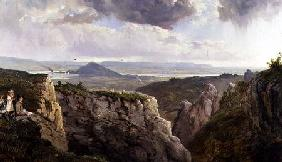 The Elbor Rocks looking towards Glastonbury, with the artist, E.J. Niemann, painted by A.F. de Prade