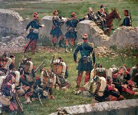 Evening of the battle of Rezonville (Gravelotte). Grenadiers of the Imperial Guard at rest, 16 Augus