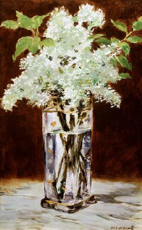 White Lilac in a Crystal Vase