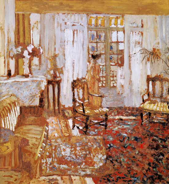Interior with a Woman in Yellow in Front of a Window (oil on canvas)