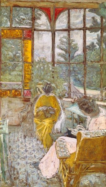 Two Women Embroidering on a Veranda, 1913 (tempera on canvas)